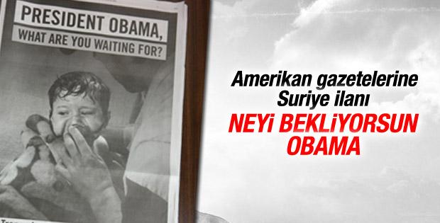 Suriye için Obama'ya gazete ilanlarıyla çağrı