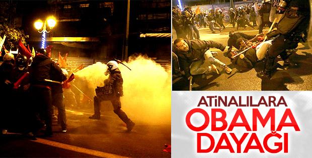 Atina'da Obama'nın ziyaretine karşı gösteri