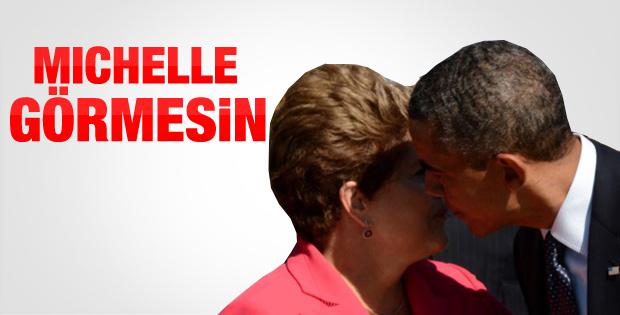 Obama'dan Rousseff'e samimi öpücük