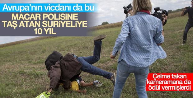 Macar polisine taş atan Suriyeliye 10 yıl hapis