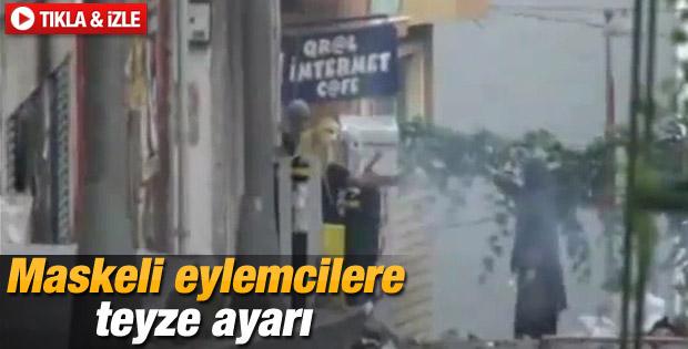Okmeydanı'nda eylemcilere yaşlı kadından sert tepki