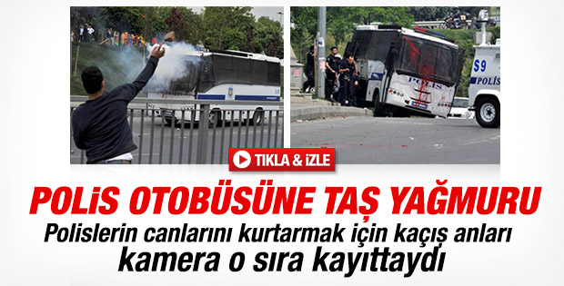 Okmeydanı'nda polis aracına taşlı saldırı