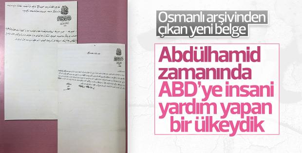 Abdülhamid'in ABD'ye gönderdiği yardım belgelendi