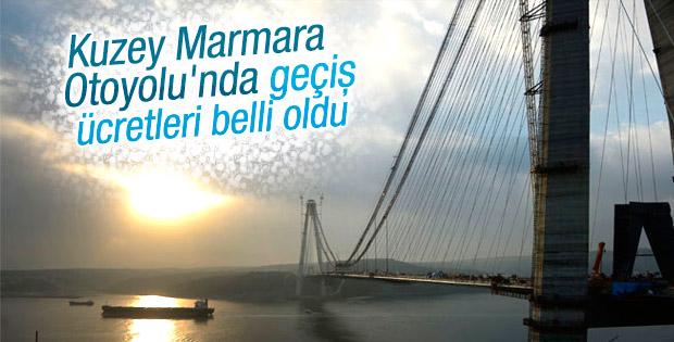Kuzey Marmara Otoyolu'nun geçiş ücreti belirlendi