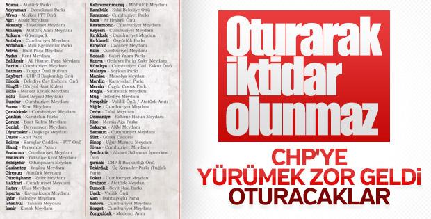 CHP'nin oturma eylemi yapacağı bölgeler