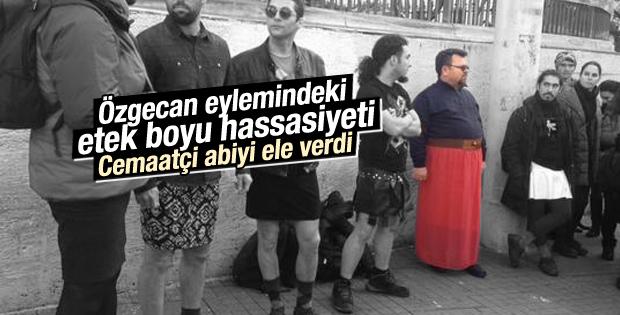 Erkeklerden Taksim'de Özgecan için etekli eylem