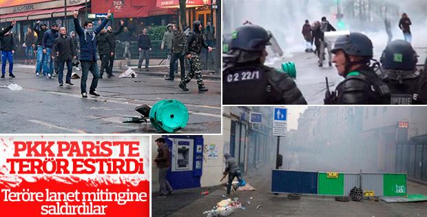 Fransa'da Türklerin Teröre Lanet mitingine saldırı