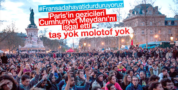 Paris'te Cumhuriyet Meydanı eylemcilerin elinde