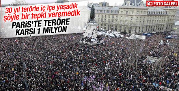 Paris'te binlerce kişi teröre karşı toplandı İZLE