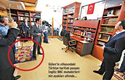Gülen'in odasındaki Türkiye halısına basan BBC muhabiri