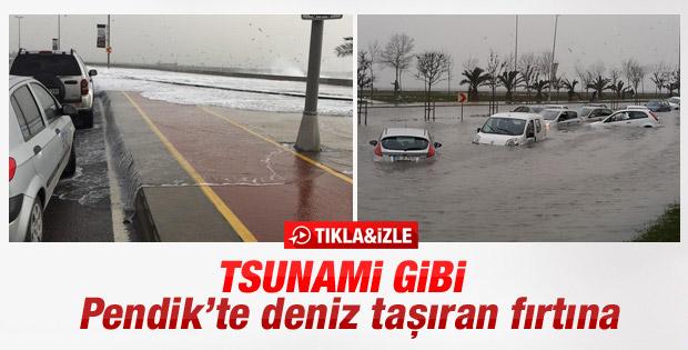 İstanbul Pendik'te kara ile deniz birleşti