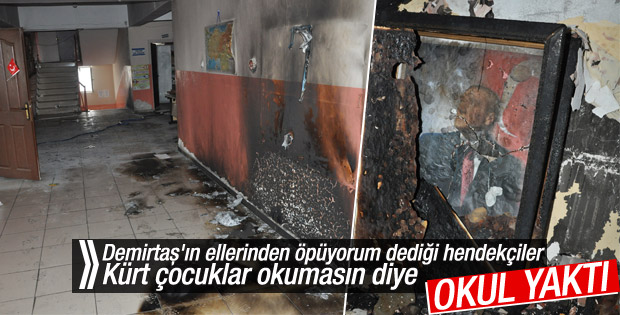 Şırnak'ta teröristlerin yaktığı okul görüntülendi