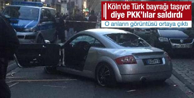 Köln'de Türk bayrağı taşıyan gence PKK'lılar saldırdı