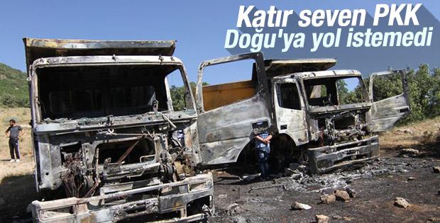 PKK Siirt'te kamyonları yaktı