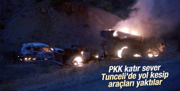 Tunceli'de yol kesen teröristler araçları ateşe verdi