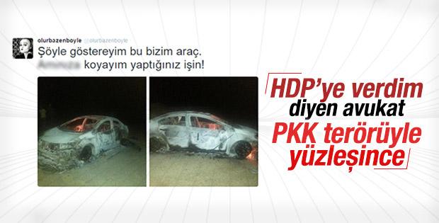 PKK'lılar HDP'ye oy veren avukatın aracını yaktı