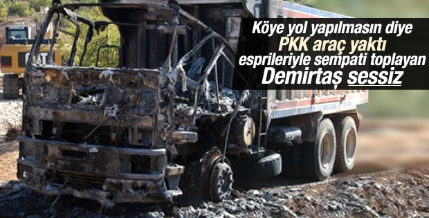 PKK Bingöl'de iş makinesi yaktı