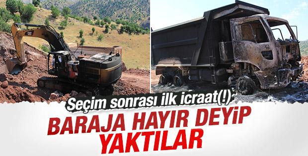 PKK Adıyaman'da iş makineleri yaktı