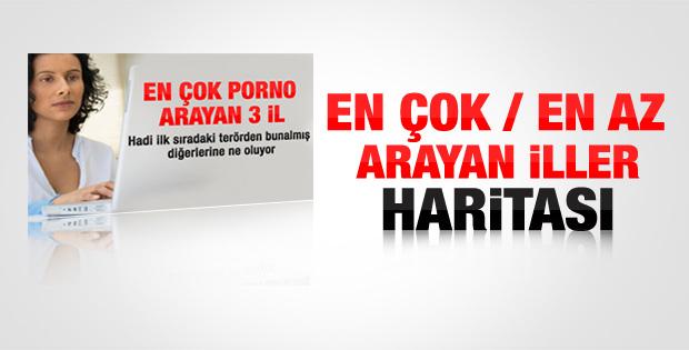 İl il Türkiye'nin en çok en az porno arayan illeri