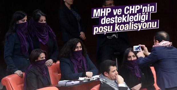 HDP'li vekiller mecliste poşulu eylem yaptı