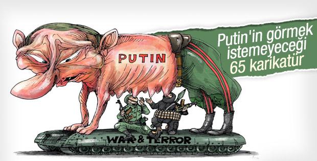 Putin'in eleştirildiği 65 karikatür