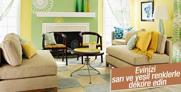 Evinizi sarı ve yeşil renklerle dekore edin