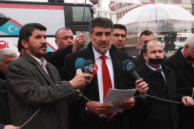 Ankara'da BBP'den zincirli ve bantlı eylem