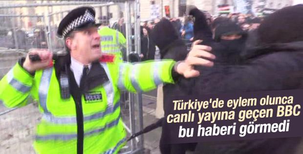 Londra'da polis öğrencilere müdahale etti İZLE