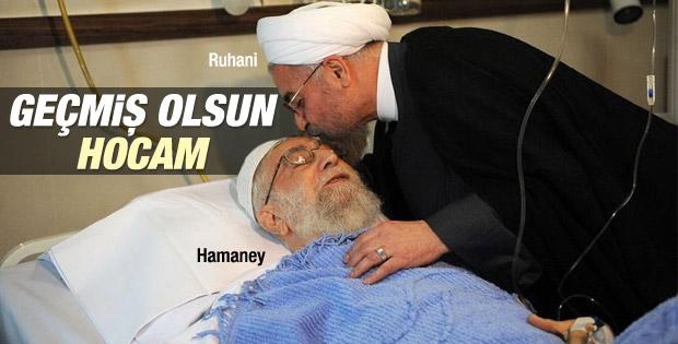 Ruhani ameliyat olan Hamaney'i hastanede ziyaret etti