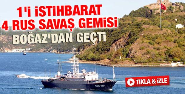 Rus savaş gemileri İstanbul Boğazı'nda - izle