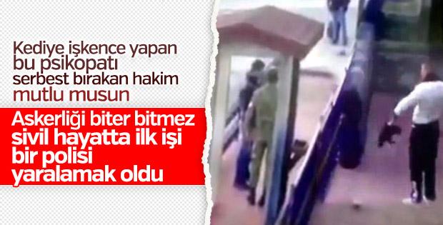 Kediye işkence yapan asker polis yaralamaktan tutuklandı
