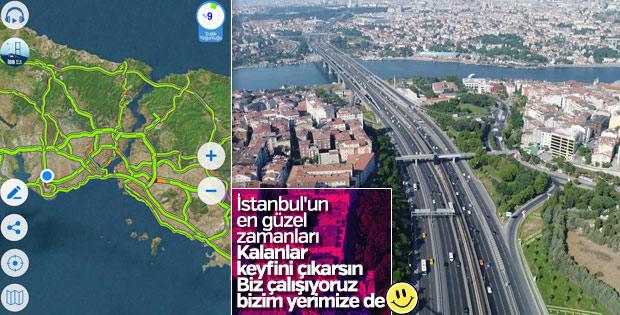 İstanbul'da bayram sabahı yollar bomboş kaldı
