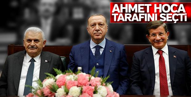 Davutoğlu, grup toplantısına Erdoğan ve Yıldırım ile birlikte geldi