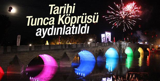 Tarihi Tunca Köprüsü aydınlatıldı