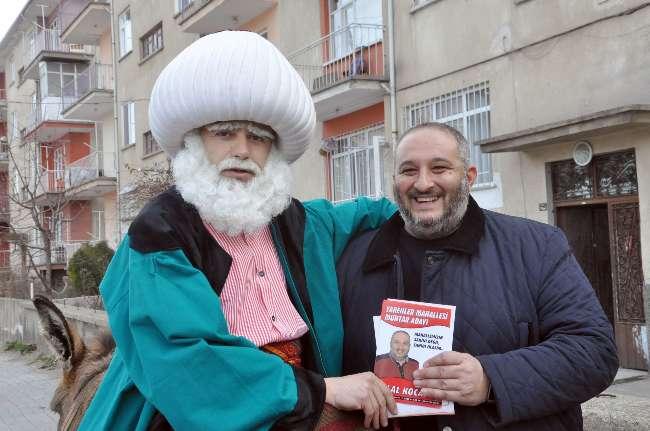 Konya'da Nasreddin Hoca'lı muhtarlık seçim çalışmaları