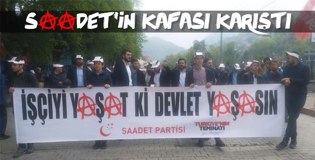 Saadet Partisi'nin 1 Mayıs pankartı