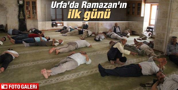 Şanlıurfa'da oruçlu vatandaşlar camide dinlendi