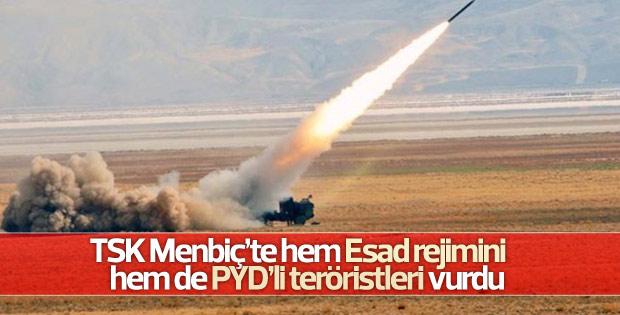TSK Menbiç'te Esad ve YPG güçlerini vurdu