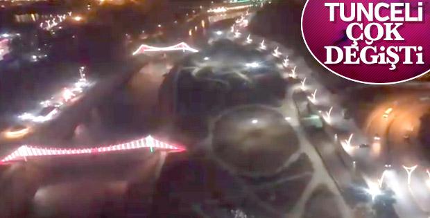 Tunceli'de yollara lale motifli aydınlatma