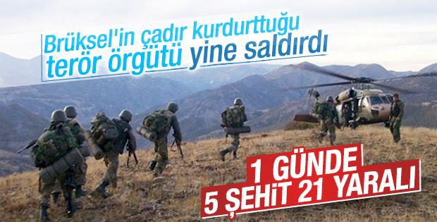 Hakkari ve Mardin'de 5 şehit 21 yaralı