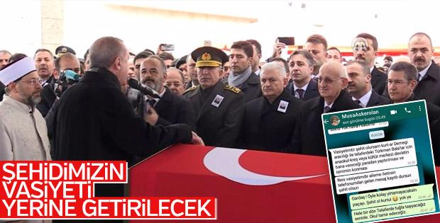 Afrin'in şehidi Musa Özalkan'a son görev
