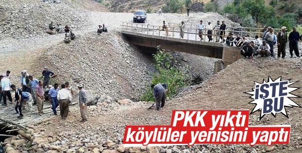 Şemdinli'de PKK köprüyü yıktı vatandaşlar yenisini yaptı