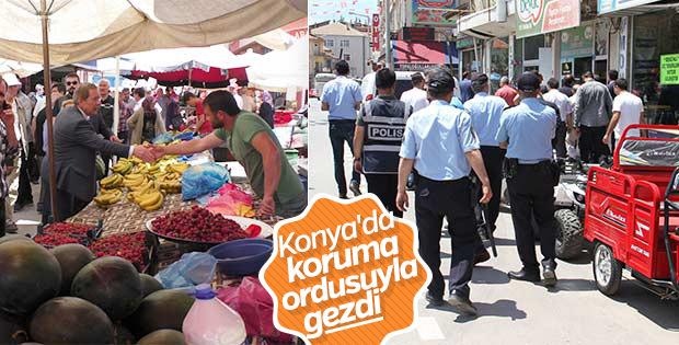 Şener Konya'da esnaf ziyaretine polislerle çıktı
