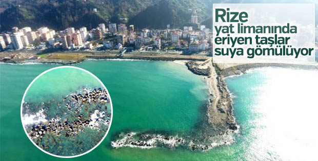 Rize yat limanında eriyen taşlar suya gömülüyor