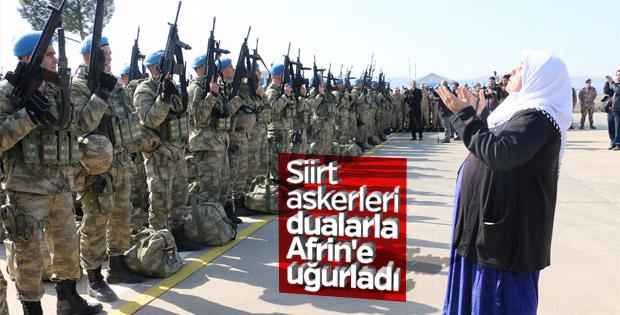 Siirt'ten Afrin'e giden askerler dualarla uğurlandı