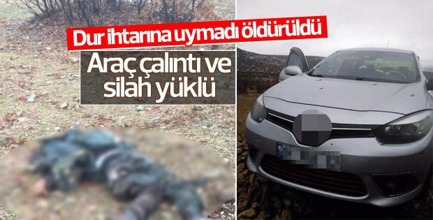 Dur ihtarına uymayan terörist öldürüldü
