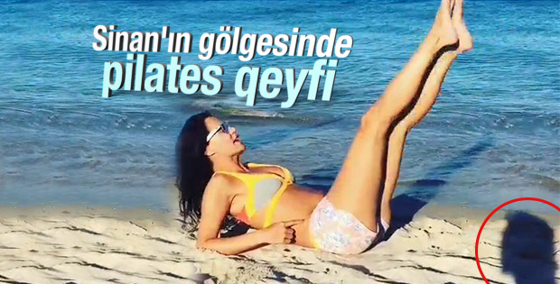 Ebru Şallı'nın pilates videosunda Sinan Akçıl gözüktü