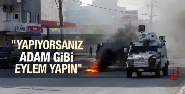Polisten Şırnak'taki eylemcilere: Adam gibi eylem yapın