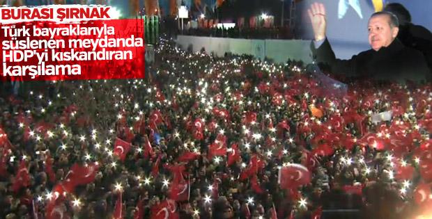 Cumhurbaşkanı Erdoğan'a Şırnak'ta coşkulu karşılama