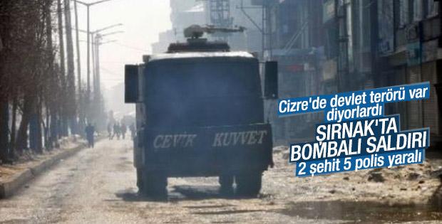 Şırnak'ta polise bombalı saldırı: 2 şehit 5 yaralı